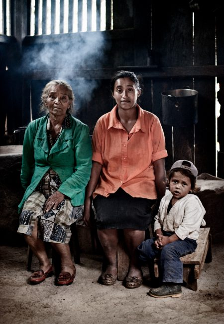 Jinotega, Nicaragua. Comunidad el Mojon. October 2010. Filomena Cruz with her son and her niece. Filomena survives thanks to a small microcredit program for the development of small rural producers.